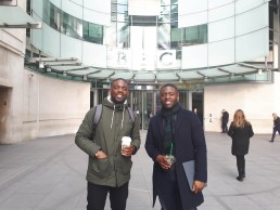 brothers stood outside bbc building